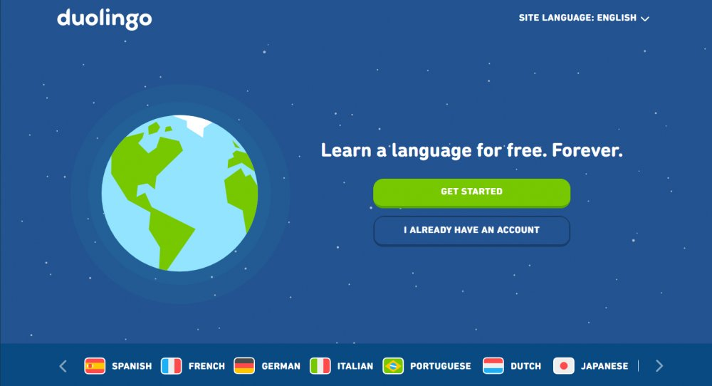 best language learning apps: Duolingo homepage