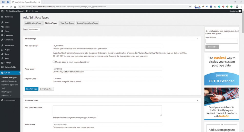 Build a client portal with WordPress: The add/edit custom post type interface