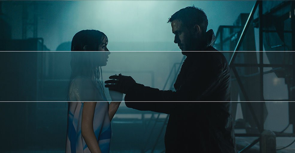 Plate photography of Ana de Armas and Ryan Gosling from Blade Runner 2049