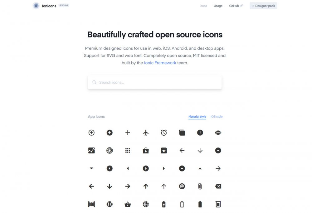 Free design resources: Ionicons