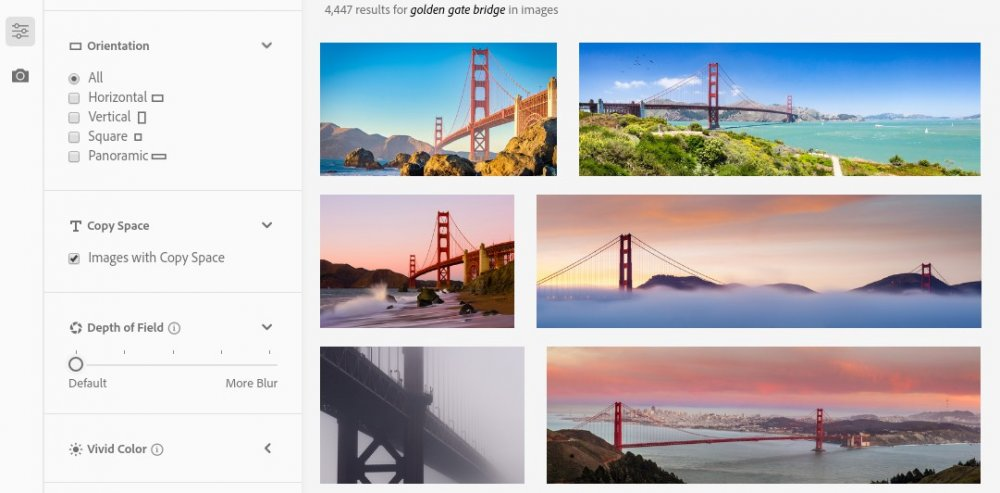 Search results for 'Golden Gate Bridge' with 'Images with Copy Space' ticked