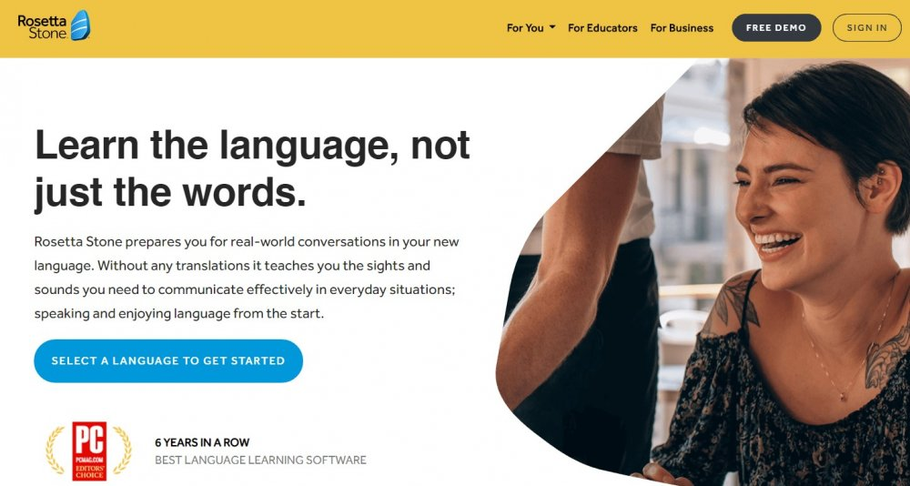 best language learning apps: Rosetta Stone homepage