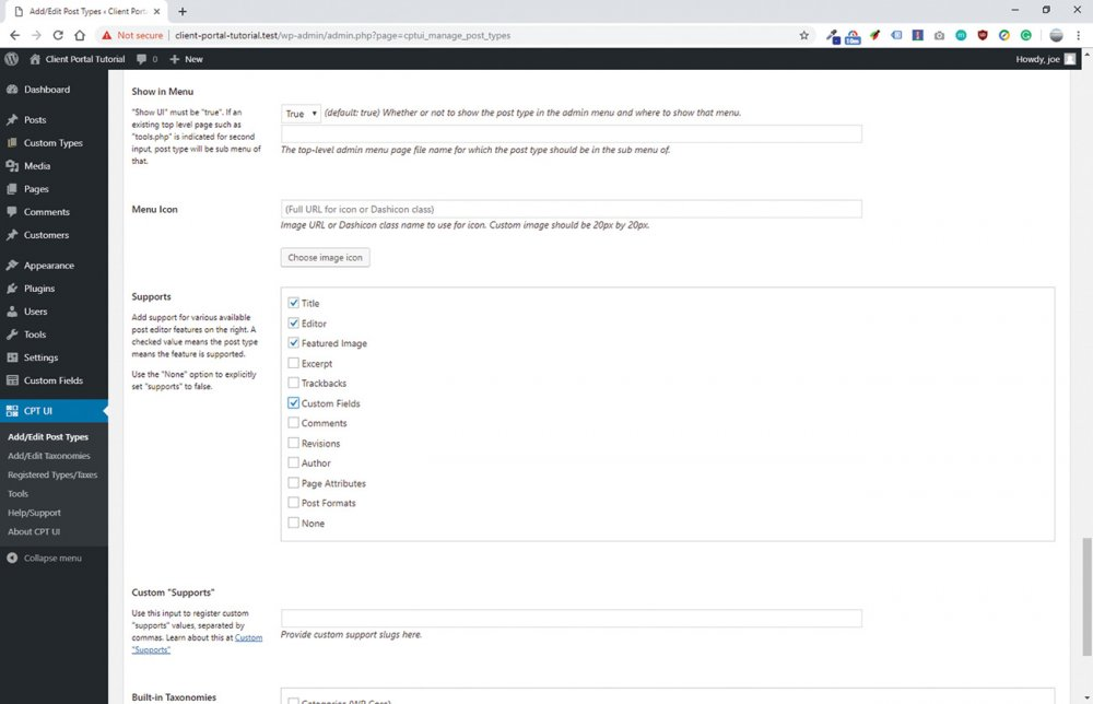 Build a client portal with WordPress: Add support for custom fields